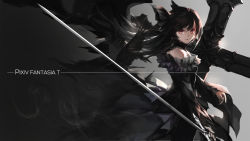 1girl bare_shoulders bird black_hair cross long_hair looking_at_viewer original pixiv_fantasia pixiv_fantasia_t red_eyes solo swd3e2 sword weapon