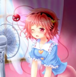 1girl blouse blush curtains electric_fan hairband heart indoors kisa_limy komeiji_satori leaning_forward looking_away one_eye_closed pink_eyes pink_hair puffy_short_sleeves puffy_sleeves short_hair short_sleeves skirt solo sweat third_eye touhou window