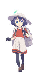 1girl :o backpack bag black_gloves black_hair blue_eyes brown_shoes chestnut_mouth clenched_hand eyebrows eyebrows_visible_through_hair feathers full_body gloves hair_between_eyes hat highres kaban kemono_friends loafers looking_up nagisa_kurousagi open_mouth pantyhose red_shirt safari_hat shirt shoes short_hair short_sleeves shorts simple_background solo sweat tareme walking white_background