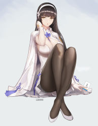 1girl :o absurdres artist_name bangs black_hair black_legwear blunt_bangs breasts cape cleavage crossed_ankles dress full_body girls_frontline gloves hair_flip hairband highres knees_up large_breasts long_hair looking_at_viewer monaim pantyhose qbz-95_(girls_frontline) short_dress sitting solo white_dress white_gloves yellow_eyes