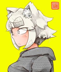1girl animal_ears breasts cat_ears dated eyebrows fang freckles grey_eyes hood_down hoodie original san_mamiya short_hair sideways_mouth solo thick_eyebrows white_hair yellow_background