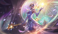 1girl alternate_costume brazier breasts crown crystal dress elementalist_lux gloves league_of_legends luxanna_crownguard md5_mismatch medium_breasts official_art petals resized stained_glass throne tiara wand white_dress