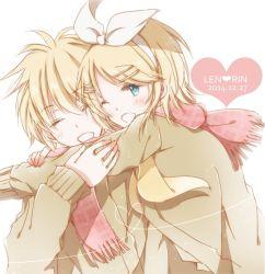 1boy 1girl blonde_hair blue_eyes brother_and_sister eyes_closed hiro_(hirohiro31) kagamine_len kagamine_rin one_eye_closed short_hair siblings twins vocaloid