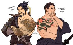 2boys bara chris_redfield crossover facial_hair hanzo_(overwatch) looking_at_viewer male_focus multiple_boys muscle overwatch resident_evil smile sword tattoo weapon
