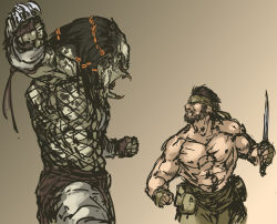 2boys abs alien arm_blade bared_teeth battle beard big_boss combat_knife epic faceoff facial_hair fingerless_gloves fishnets gloves hairlocs headband height_difference highres knife manly metal_gear_(series) metal_gear_solid mullet multiple_boys muscle nameo_(judgemasterkou) open_mouth pectorals predator predator_(movie) shirtless weapon