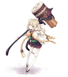 1girl ahoge bangs bell blonde_hair commentary green_eyes hammer holding holding_weapon japanese_clothes jingle_bell original poco_(asahi_age) rope shimenawa simple_background solo stamp thighhighs twintails weapon white_background white_legwear