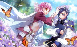 1boy 1girl absurdres blue_hair blush book butterfly dutch_angle embarrassed est_rinaudo facial_tattoo flower green_eyes hair_flower hair_ornament happy highres holding holding_book lulu_(wand_of_fortune) navel open_mouth pantyhose pink_hair short_hair sleeves_past_wrists tattoo usuba_kagero wand_of_fortune