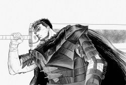 1boy armor bandage belt berserk black_hair cape dragonslayer_(sword) facial_scar greyscale guts highres hikichi_sakuya huge_weapon knife lips male_focus monochrome nose_scar scar scar_on_cheek short_hair simple_background solo sword weapon