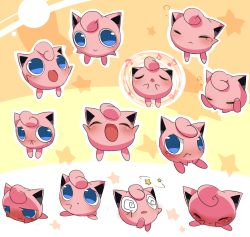 blue_eyes blush eyes_closed jigglypuff kuro_kaze looking_at_viewer no_humans pokemon sleeping tears