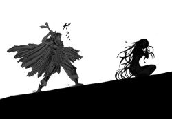 1boy 1girl berserk crossover elsa_maria_(madoka_magica) guts huge_weapon long_hair mahou_shoujo_madoka_magica monochrome nemo_(nameless920) simple_background sword weapon witch_(madoka_magica)