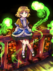 1girl :d arm_support arm_warmers blonde_hair bobby_socks bridge green_eyes happy highres japanese_clothes knees_together_feet_apart looking_at_viewer mary_janes mizuhashi_parsee open_mouth parted_lips pigeon-toed pointy_ears robe scarf shoes skirt smile socks solo touhou uranaishi_(miraura)