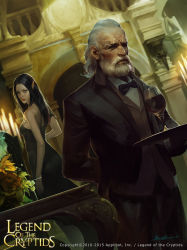 1girl 2015 arch arm_behind_back beard black_dress black_hair black_pants candle copyright_name crowgod cup dress drinking_glass dutch_angle facial_hair formal grey_eyes highres indoors legend_of_the_cryptids looking_back official_art old_man pants pointy_ears signature standing tray watermark white_hair wine_glass