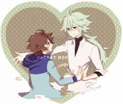 2boys brown_hair green_hair long_hair male_focus multiple_boys n_(pokemon) pokemon short_hair tagme touya_(pokemon) yaoi