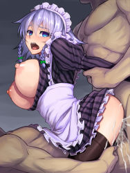 1girl 2boys anal black_legwear blue_eyes blush braid breasts breasts_outside cum cum_in_ass cum_in_pussy double_penetration group_sex hair_ribbon highres izayoi_sakuya jonylaser koumajou_densetsu large_breasts maid_headdress multiple_boys nipples open_mouth rape ribbon sex short_hair silver_hair simple_background tears thighhighs touhou twin_braids uncensored vaginal vertical_stripes