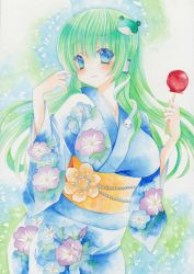 1girl alternate_costume blue_eyes blush candy_apple floral_print flower frog_hair_ornament green_hair hair_ornament hair_tubes highres japanese_clothes kimono kochiya_sanae long_hair looking_at_viewer obi pom77 sash smile snake_hair_ornament solo touhou traditional_media watercolor_(medium) yukata