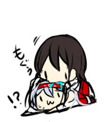 2girls :3 akagi_(kantai_collection) brown_hair chibi commentary drooling kairoushu_(dones01127) kantai_collection long_hair lowres multiple_girls shoukaku_(kantai_collection) sitting sketch sweatdrop |_|