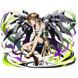 1girl blue_shorts bracelet breasts brown_hair cleavage collarbone divine_gate full_body green_eyes jewelry looking_at_viewer official_art shirt short_hair shorts sitting sleeveless sleeveless_shirt small_breasts smile solo transparent_background ucmm white_shirt