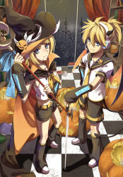 1boy 1girl blonde_hair blue_eyes brother_and_sister cross_akiha detached_sleeves hat highres horns jack-o'-lantern kagamine_len kagamine_rin short_hair siblings sword tail twins vocaloid weapon wings witch_hat