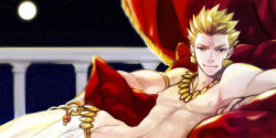 107 1boy blonde_hair earrings fate/stay_night fate/zero fate_(series) full_moon gilgamesh jewelry loincloth male moon necklace reclining red_eyes shirtless solo