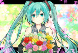 1girl aqua_hair detached_sleeves flower green_eyes hatsune_miku highres long_hair solo tomozero twintails very_long_hair vocaloid