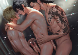 3boys abs aftersex against_wall blonde_hair blush cum cum_on_body cumdrip erection facial_hair final_fantasy final_fantasy_xv frottage gladiolus_amicitia male_focus multiple_boys muscle naughty_face nipples noctis_lucis_caelum nude penguin_frontier penis prompto_argentum scar smile steam sweat tattoo yaoi