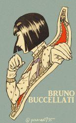 1boy black_hair bob_cut bruno_bucciarati highres jojo_no_kimyou_na_bouken male pamasan profile solo zipper