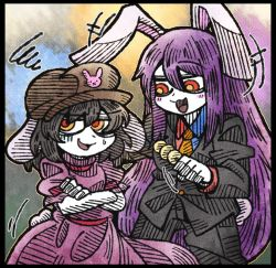 +++ 2girls :3 animal_ears annoyed black_border black_hair border bunny_ears bunny_tail crossed_arms dango dress eyebrows eyebrows_visible_through_hair flat_cap floppy_ears food formal hair_between_eyes hat inaba_tewi lavender_hair line_shading long_hair multiple_girls necktie open_mouth pink_dress puffy_short_sleeves puffy_sleeves red_eyes reisen_udongein_inaba short_sleeves smile squiggle suenari_(peace) suit sweatdrop tail touhou turn_pale very_long_hair wagashi white_skin yellow_necktie