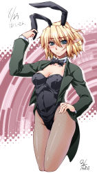 1girl :c animal_ears blonde_hair blush bowtie breasts bunny_ears bunny_girl bunnysuit cleavage coattails contrapposto cropped_legs detached_collar fishnet_pantyhose fishnets green_eyes hand_on_hip jacket mizuhashi_parsee ootsuki_wataru pantyhose pointy_ears short_hair solo touhou