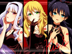 3girls ahoge armlet black_dress black_gloves black_hair black_hairband blonde_hair blue_eyes breasts brown_ribbon cleavage collarbone dress earrings elbow_gloves ganaha_hibiki gloves green_eyes hair_between_eyes hair_ribbon hairband head_tilt high_ponytail hoshii_miki idolmaster jewelry large_breasts long_hair looking_at_viewer medium_breasts multiple_girls necklace parted_lips red_eyes restaint ribbon shijou_takane silver_hair sleeveless sleeveless_dress strapless strapless_dress upper_body very_long_hair