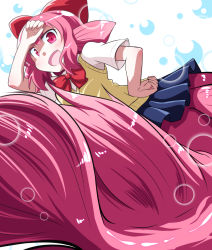 1girl bow bowtie bubble fang fins fish_girl fish_tail hair_bow hand_on_forehead hand_on_hip head_fins mermaid monster_girl obyaa open_mouth pink_eyes pink_hair shinkaigyo_no_anko-san skirt sweater_vest touna_suzuki