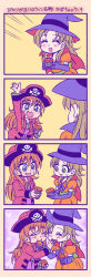 belt blush bow brown_hair dress eyes_closed feeding female food food_in_mouth halloween hat jolly_roger long_dress multiple_girls open_mouth pirate pirate_hat precure ribbon skull skull_and_crossed_swords smile suzunashi_susumu tagme translation_request witch witch_hat yuri