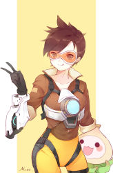 1girl :q artist_name bodysuit bomber_jacket breasts brown_eyes brown_hair brown_jacket collarbone cowboy_shot ear_piercing gloves goggles harness jacket leather leather_jacket licking_lips looking_to_the_side misononeko orange_bodysuit overwatch pachimari pants piercing signature small_breasts smile solo spiked_hair striped stuffed_animal stuffed_octopus stuffed_toy tight tight_pants tongue tongue_out tracer_(overwatch) v vertical-striped_background vertical_stripes white_background yellow_background