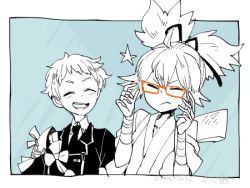 2boys ^_^ bespectacled eyes_closed glasses glasses_removed hakata_toushirou japanese_clothes l_hakase lowres male_focus monochrome multiple_boys necktie open_mouth red-framed_glasses sayo_samonji smile spot_color star touken_ranbu