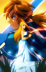 1boy 1girl blonde_hair bracer brown_hair cloak dress green_eyes jewelry link necklace pointy_ears princess_zelda robert_porter serious the_legend_of_zelda the_legend_of_zelda:_breath_of_the_wild white_dress