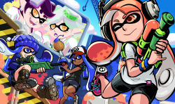 aori_(splatoon) baseball_cap beanie big-d bike_shorts blue_eyes blue_hair dark_skin hat headphones highres hotaru_(splatoon) inkling mask monitor paintbrush pinky_out scope splatoon super_soaker tentacle_hair