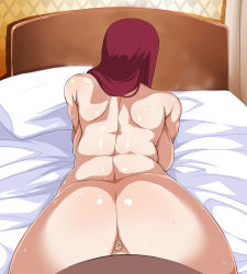 1boy 1girl anus artist_request bed doggystyle naruto nude photoshop pov red_hair sex source_request sweat uncensored uzumaki_kushina vaginal