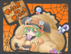 1girl belt black_shoes black_skirt blue_eyes blush candy candy_cane chibi crop_top english eyebrows_visible_through_hair food full_body green_hair hair_between_eyes halloween hat holding holding_wand jitome lollipop looking_at_viewer mouth_hold navel orange_background original panties paws sack shoes silk sitting skirt solo spider_web spread_legs star striped striped_legwear swirl_lollipop ten_usagi thighhighs trick_or_treat underwear wand white_panties