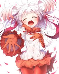 1girl bangs blunt_bangs buttons cowboy_shot crested_ibis_(kemono_friends) eyes_closed fur_collar gloves gluteal_fold head_wings kemono_friends long_hair long_sleeves matokechi miniskirt multicolored_hair open_mouth orange_skirt pantyhose petals red_gloves red_hair red_legwear shirt simple_background skirt smile solo thigh_gap two-tone_hair white_background white_hair white_shirt wide_sleeves