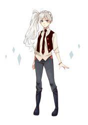 1girl blue_eyes blush denim jeans kuma_(bloodycolor) necktie pants rwby side_ponytail solo vest weiss_schnee white_background