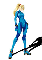 1girl blonde_hair blue_eyes bodysuit boots breasts full_body high_heel_boots high_heels highres hips large_breasts long_hair long_legs metroid ponytail samus_aran scrunchie shadow simple_background skin_tight solo standing super_smash_bros. thighs versapro white_background zero_suit