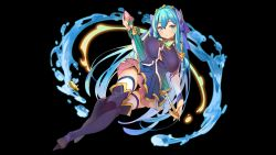 1girl aqua_(konosuba) aqua_(konosuba)_(cosplay) artist_request bare_shoulders black_background blue_eyes blue_hair blush boots breasts character_request closed_umbrella copyright_request cosplay detached_sleeves hair_ribbon highres holding kono_subarashii_sekai_ni_shukufuku_wo! large_breasts long_hair looking_at_viewer miniskirt open_mouth ribbon simple_background skirt solo thigh_boots thighhighs thighhighs_under_boots tiara umbrella water white_legwear zettai_ryouiki