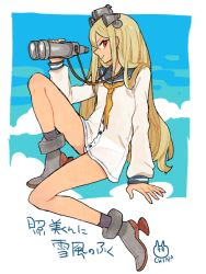 1boy afuro_terumi artist_name binoculars blonde_hair cloud cosplay inazuma_eleven inazuma_eleven_(series) kantai_collection l_hakase long_hair male panties red_eyes sailor_dress see-through solo trap underwear very_long_hair white_background yukikaze_(kantai_collection) yukikaze_(kantai_collection)_(cosplay)