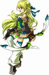 1girl :d bare_shoulders black_gloves blue_bow boots bow bow_(weapon) breasts elbow_gloves elsword fingerless_gloves gloves green_eyes green_hair hair_bow half_updo long_hair official_art open_mouth pointy_ears profile rena_(elsword) ress skirt smile solo thigh_boots thighhighs weapon white_background white_boots