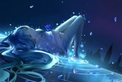 1girl aqua_eyes aqua_hair bare_legs barefoot dutch_angle flower hair_spread_out hands_on_own_stomach hatsune_miku holding holding_flower light_particles light_smile long_hair lying night on_back petals plipa reflection skyline solo very_long_hair vocaloid