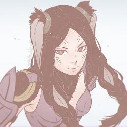 1girl animal_ears armor braid brown_hair female fire_emblem fire_emblem:_kakusei koyorin solo tagme twin_braids velvet_(fire_emblem)