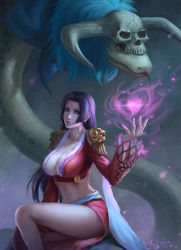 1girl absurdres black_hair blue_eyes boa_hancock breasts cleavage dress earrings heart jewelry large_breasts lips long_hair one_piece purple_dress salome_(one_piece) skull smile snake yellow_eyes