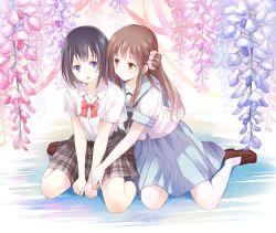 2girls blush bow brown_hair flower long_hair multiple_girls original school_uniform serafuku short_hair skirt smile yatomi yuri