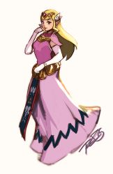 1girl belt blonde_hair brown_eyes capelet dress earrings elbow_gloves eyeshadow forehead_jewel full_body gloves hair_ornament jewelry lips lipstick loincloth long_hair makeup necklace older pearl_necklace pink_dress pointy_ears princess_zelda robert_porter smile solo the_legend_of_zelda the_legend_of_zelda:_the_wind_waker tiara white_gloves