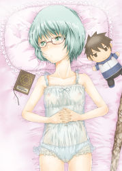1girl blue_eyes blue_hair book character_doll commentary_request flat_chest from_above glasses hiraga_saito interlocked_fingers lingerie lying nipples on_back on_bed panties pillow sapphire_satou see-through short_hair solo tabitha tagme underwear zero_no_tsukaima