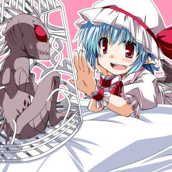 1girl blue_hair blush bow cage chin_rest chupacabra dress fang hat hat_bow mob_cap open_mouth puffy_sleeves red_eyes remilia_scarlet short_sleeves sweatdrop table tablecloth teeth touhou tupai_(touhou) white_dress wrist_cuffs